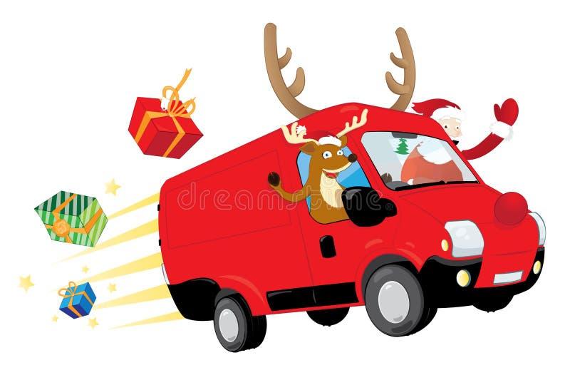 Lustiges Weihnachtsren und -Santa Claus, die einen roten Packwagen fährt und Geschenke liefert lizenzfreie abbildung