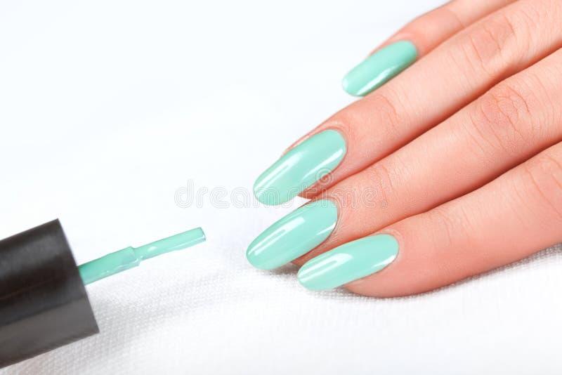Lustrador de prego manicure Mãos da beleza Pregos coloridos à moda fotografia de stock