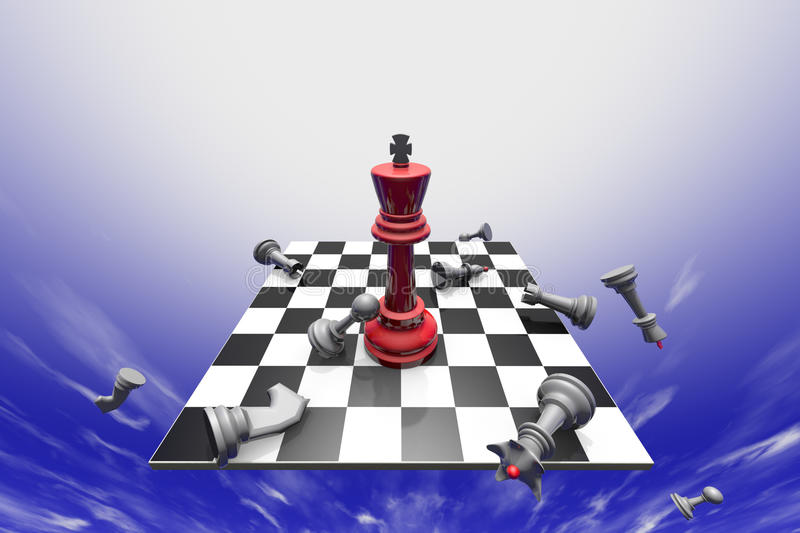 Lustration. The dramatic art of chess composition. Fantastic sky. 3D-image vector illustration