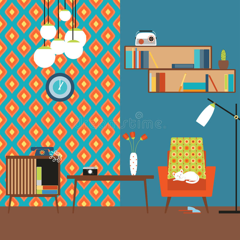 Lustration of a flat design. Room in the style of 70s. stock illustration