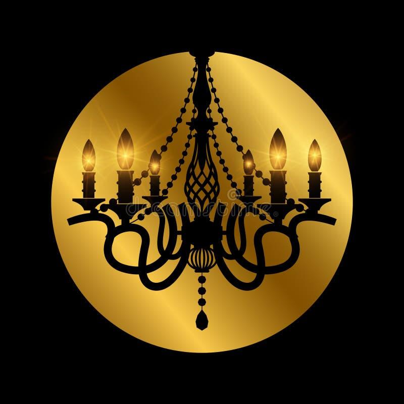 Lustre élégant cristal d'antiquité classique de verre avec l'effet d'éclat illustration libre de droits