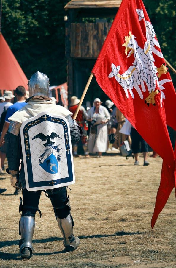 Lustre o cavaleiro com bandeira foto de stock