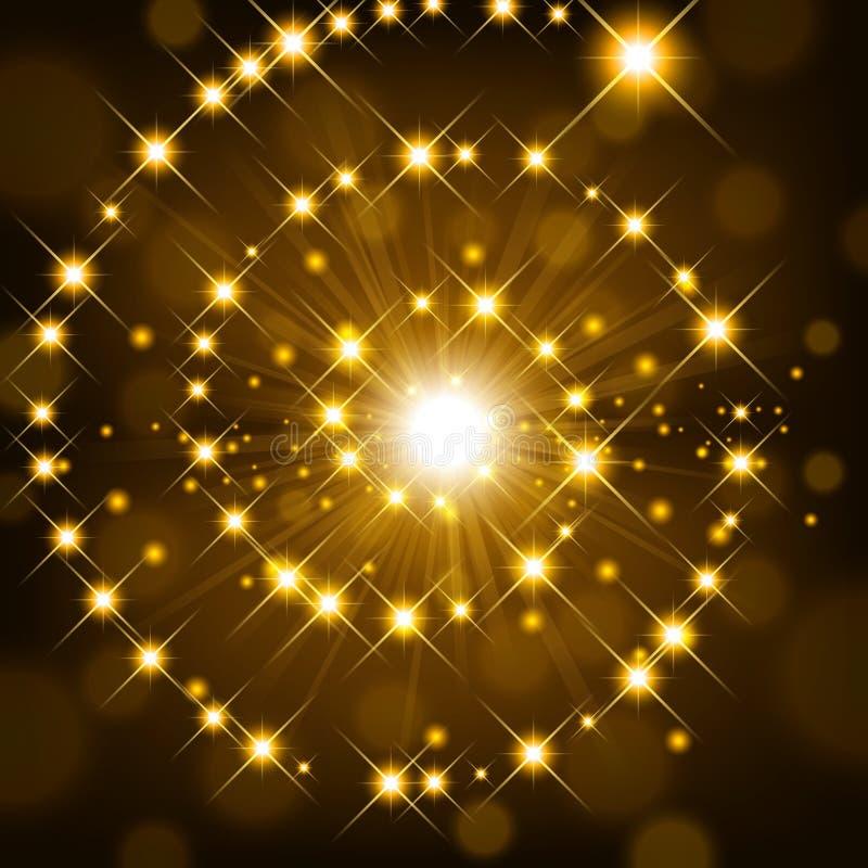 Lustro dorato con la scintilla che forma fondo a spirale royalty illustrazione gratis
