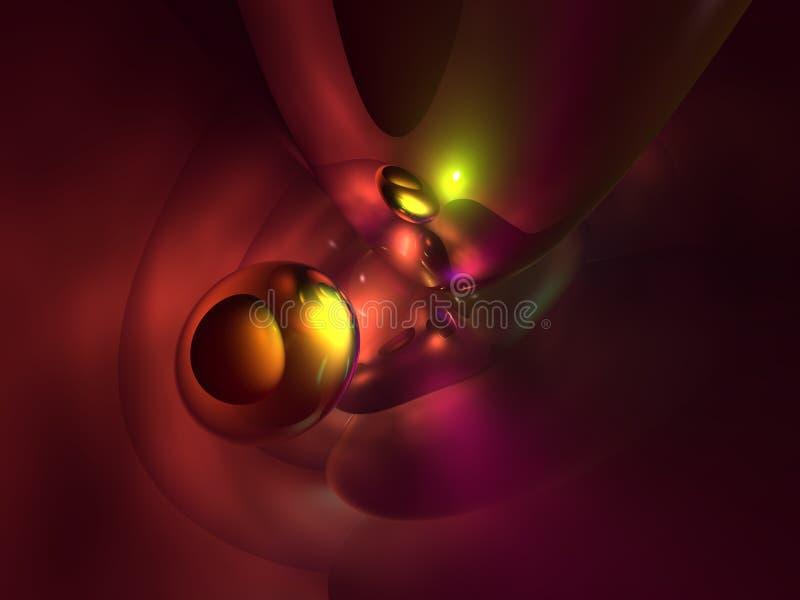 lustroso 3D abstratos vermelhos amarelos coloridos rende ilustração stock