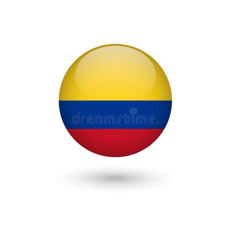 Lustroso redondo da bandeira de Colômbia ilustração stock