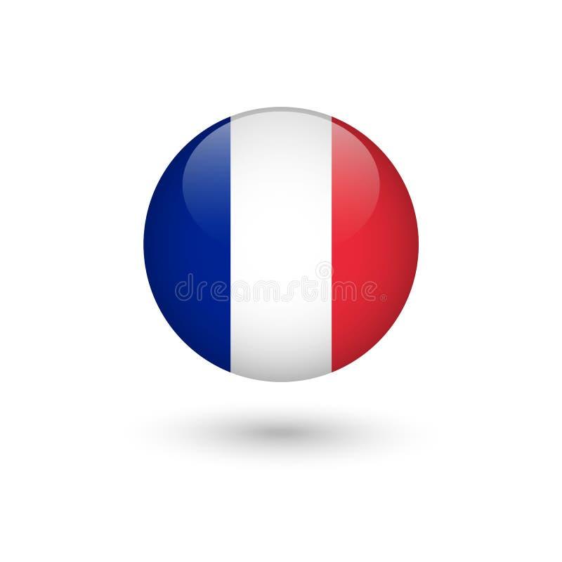 Lustroso redondo da bandeira de França ilustração do vetor