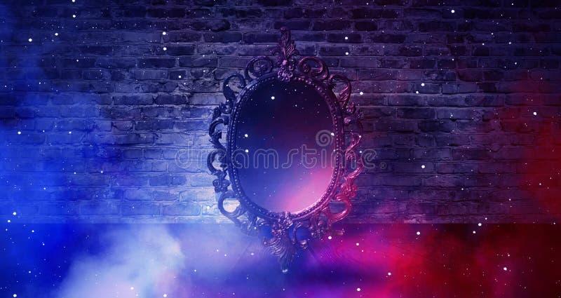 Lustrzany magicznego, pomyślności mówić, i zadość pragnienia Ściana z cegieł z gęstym dymem, fotografia stock