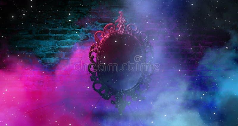 Lustrzany magicznego, pomyślności mówić, i zadość pragnienia Ściana z cegieł z gęstym dymem, obrazy royalty free
