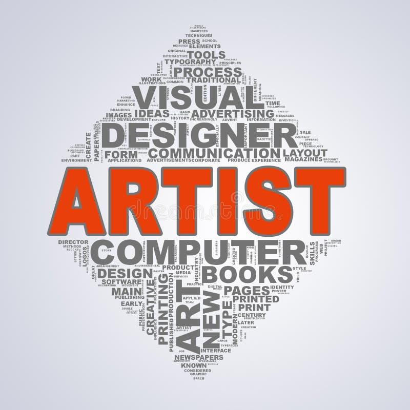 Lustrzany trójboka projekta wordcloud oznacza artysty ilustracji