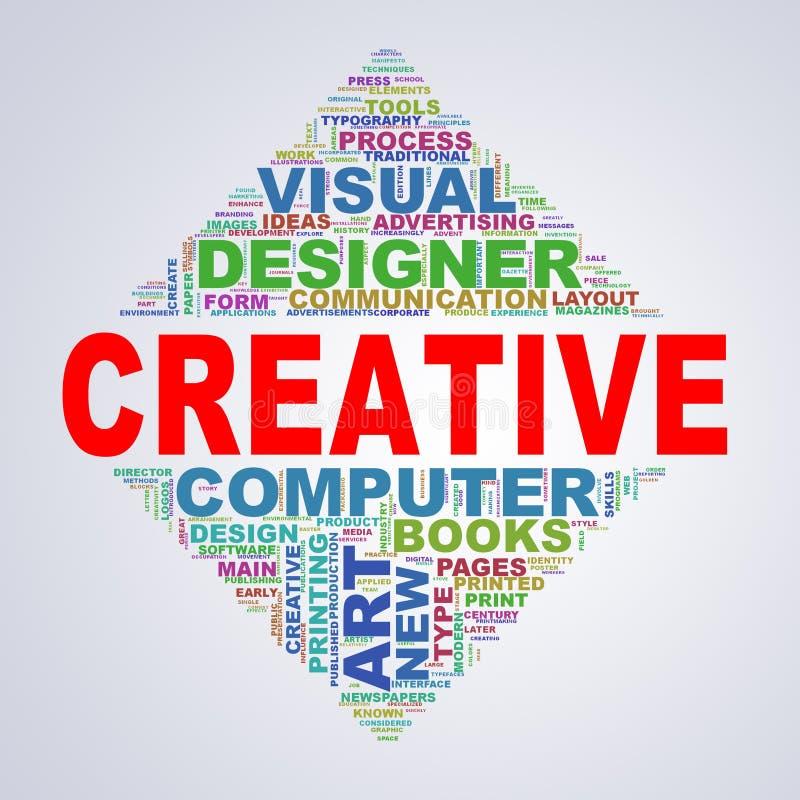 Lustrzany trójboka projekta wordcloud oznacza kreatywnie ilustracji