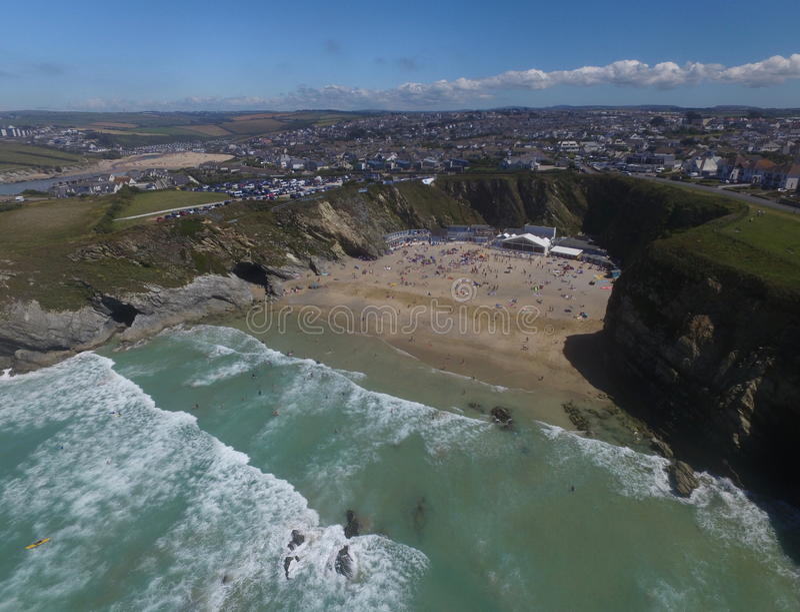 Lusty Glaze. Beach, Newquay, Cornwall, UK, taken with a UAV drone stock photo