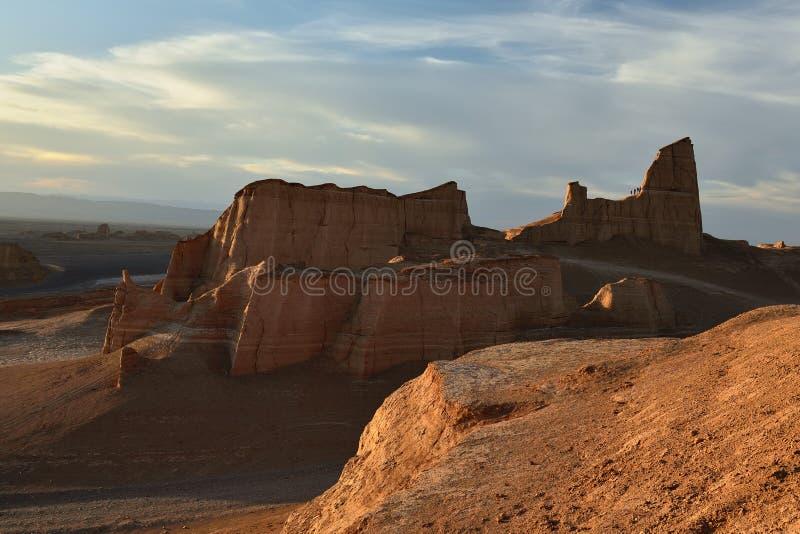 Lut沙漠在克尔曼,伊朗附近位于 免版税图库摄影