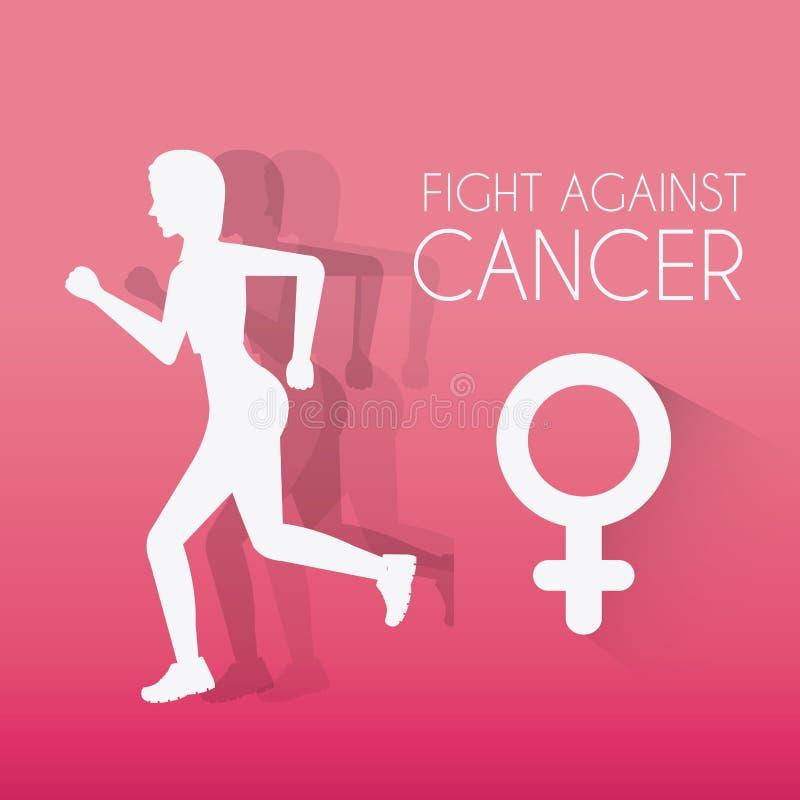 Luta contra a campanha do câncer da mama ilustração do vetor