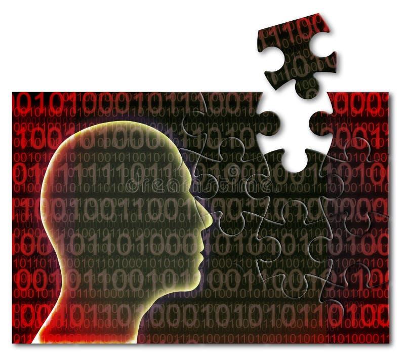 Luta contra o crime cybernetic - imagem do conceito com uma forma do enigma de serra de vaivém de uma cabeça humana com código bi fotos de stock royalty free