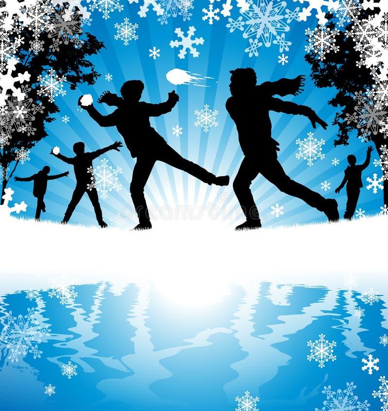 Luta da bola de neve do inverno ilustração royalty free