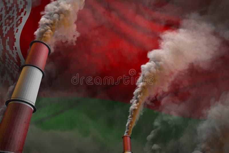 Luta da poluição no conceito de Bielorrússia - ilustração 3D industrial de duas grandes chaminés da fábrica com fumo denso no fun fotos de stock