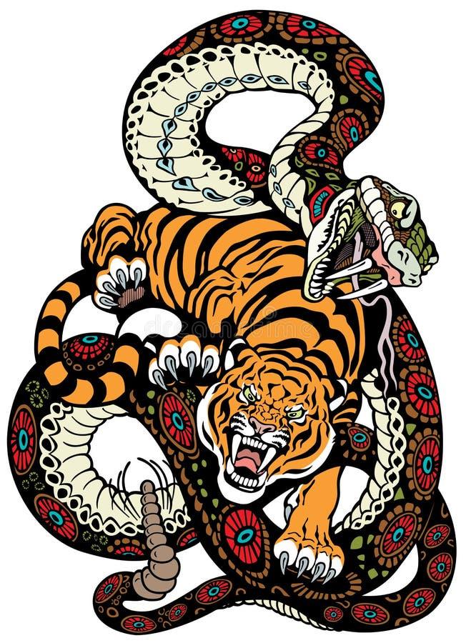 Luta da serpente e do tigre ilustração royalty free