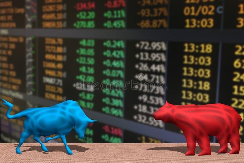 Luta de Bull e de urso e índice do mercado de valores de ação ilustração royalty free