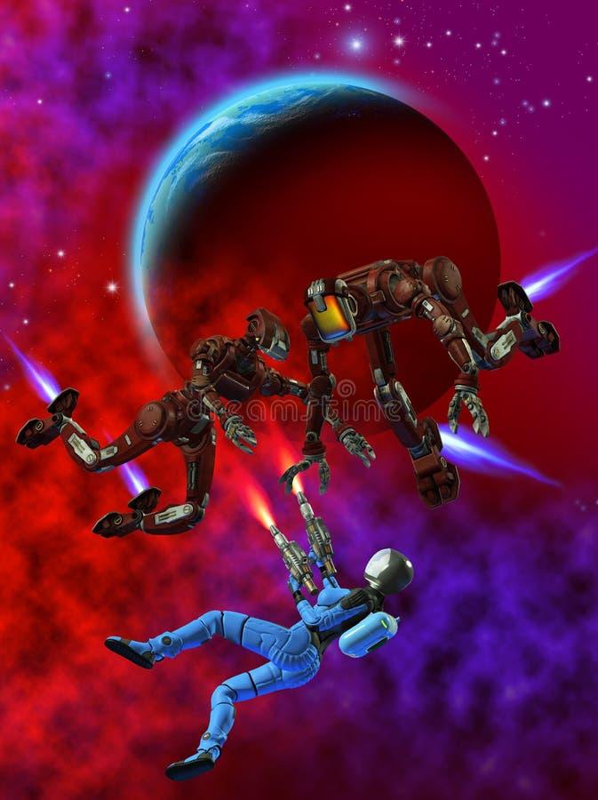 Luta do astronauta da mulher com robôs perigosos, ilustração 3d ilustração stock