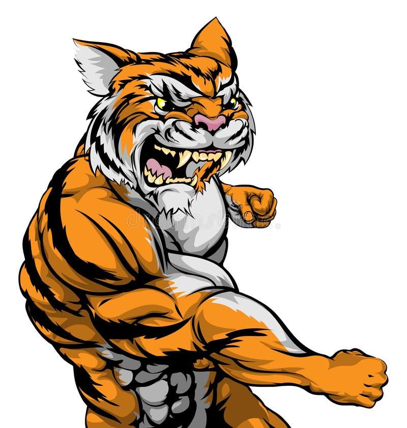 Luta do caráter do tigre ilustração royalty free