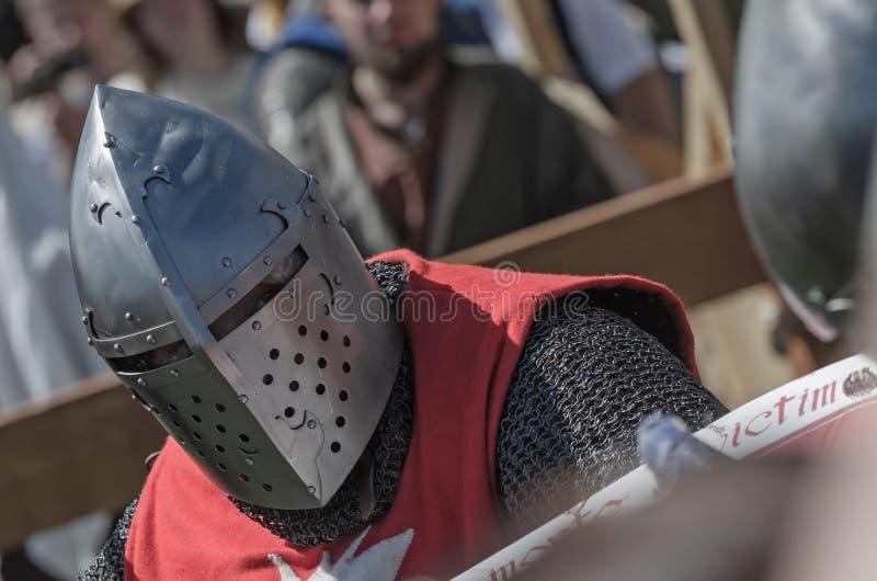 Luta do cavaleiro no festival da cultura medieval fotografia de stock royalty free