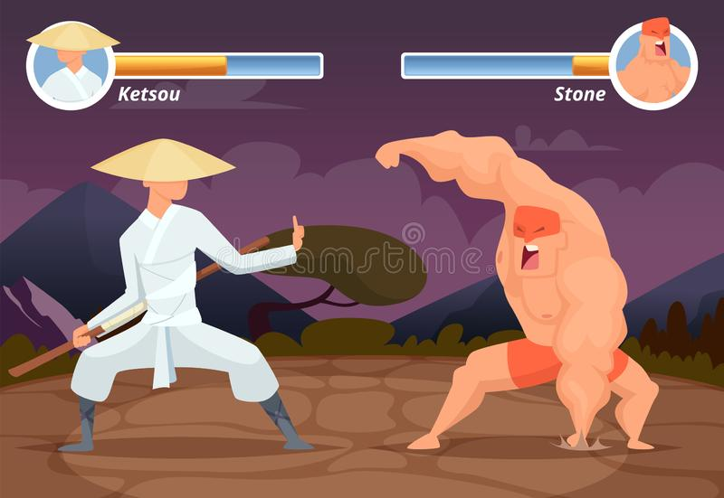 Luta do jogo Selecione o lugar do lutador asiático do 2D jogo do computador contra o fundo do vetor do luchador do lutador ilustração royalty free