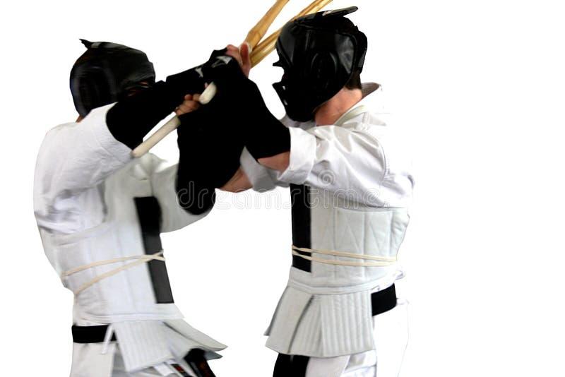 Luta do karaté (kumite), série dos esportes fotografia de stock