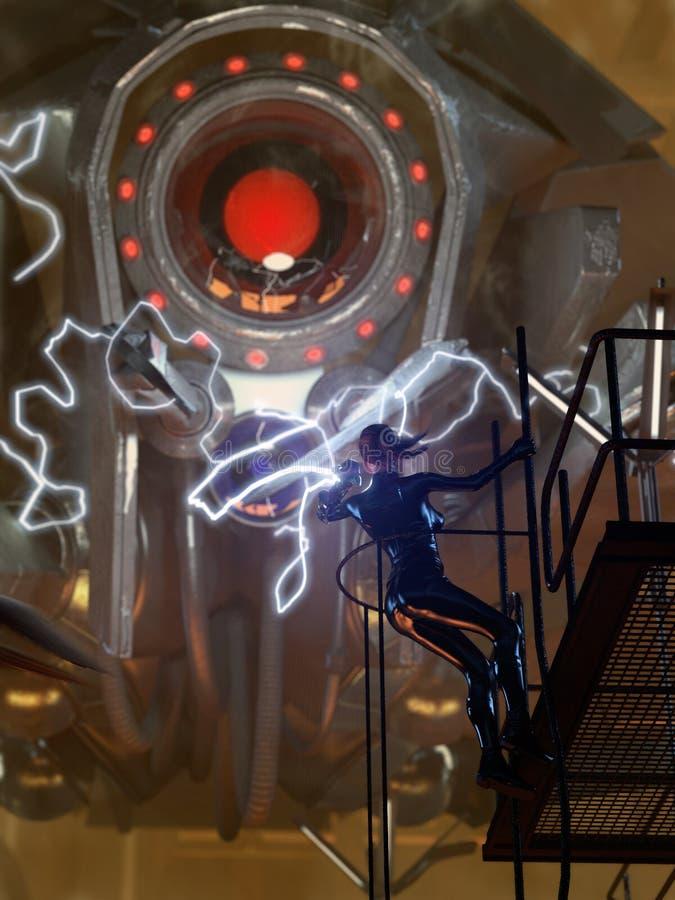 Luta do robô da ficção científica ilustração stock