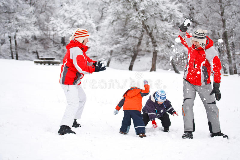 Luta do Snowball foto de stock royalty free