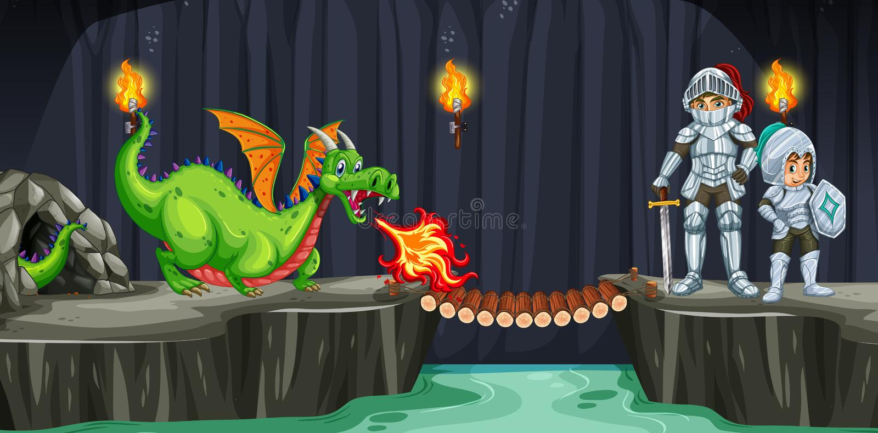 Luta dos cavaleiros com o dragão na caverna escura ilustração royalty free