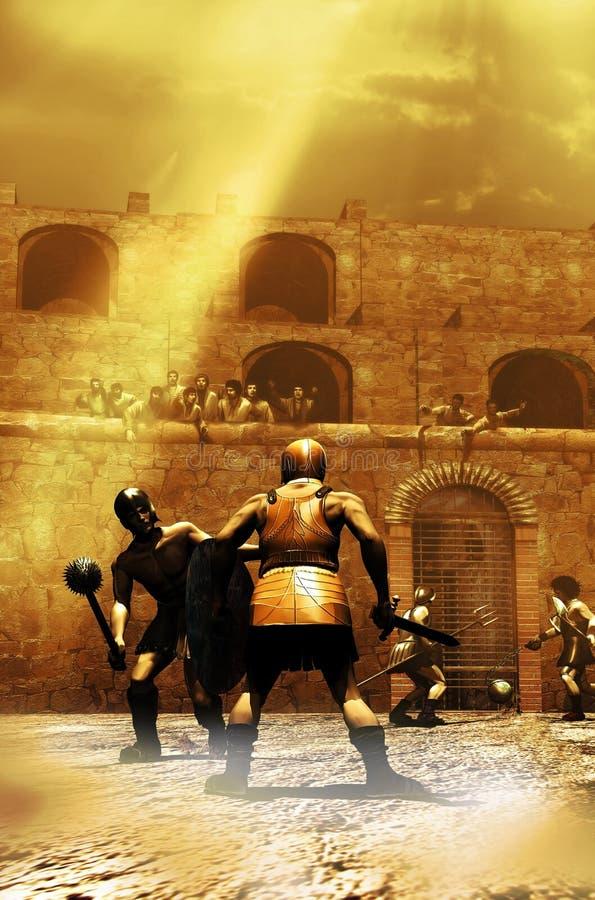 Luta dos gladiadores ilustração royalty free
