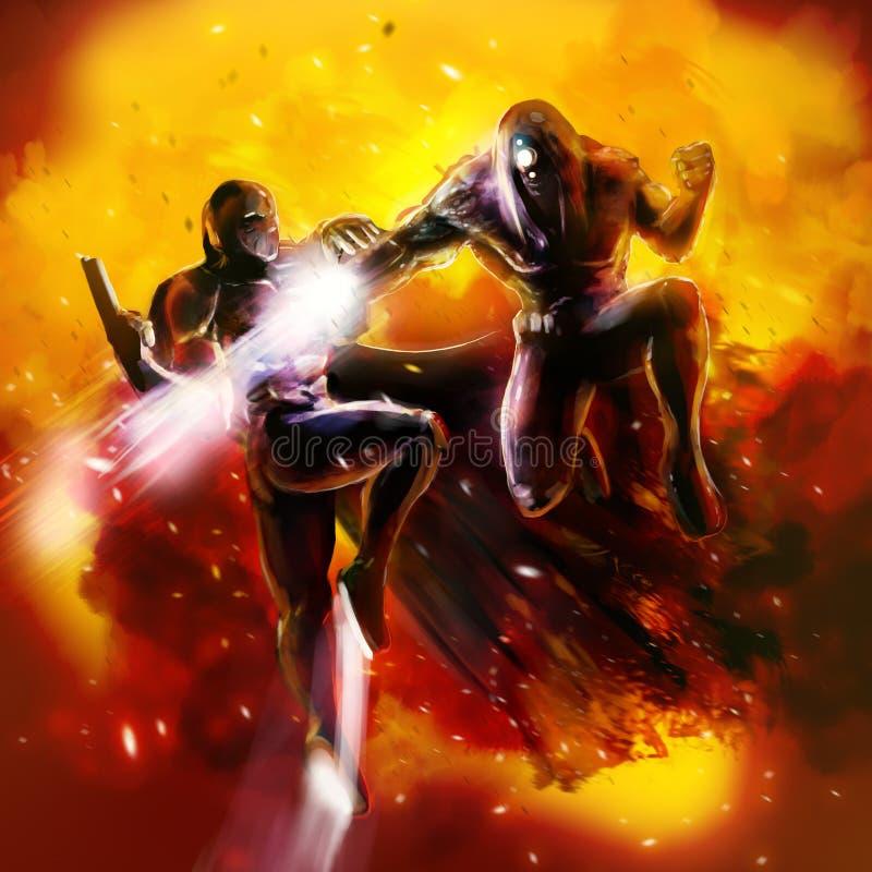 Luta dos guerreiros da fantasia ilustração stock