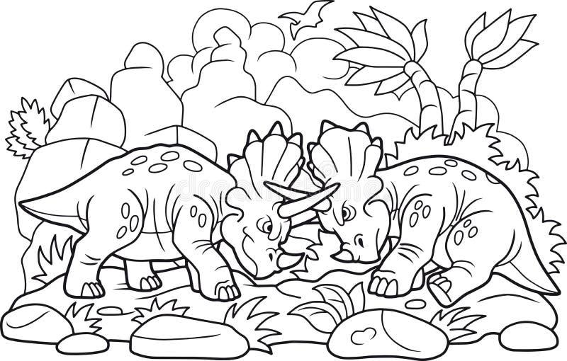 Luta engraçada dos dinossauros ilustração do vetor
