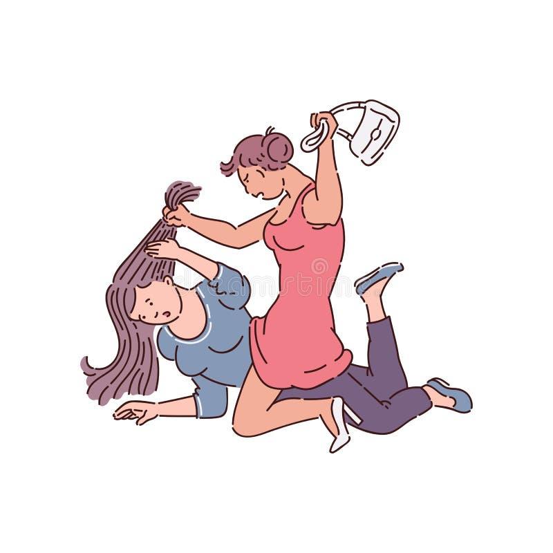 Luta entre duas mulheres - desenho da menina ilustração stock