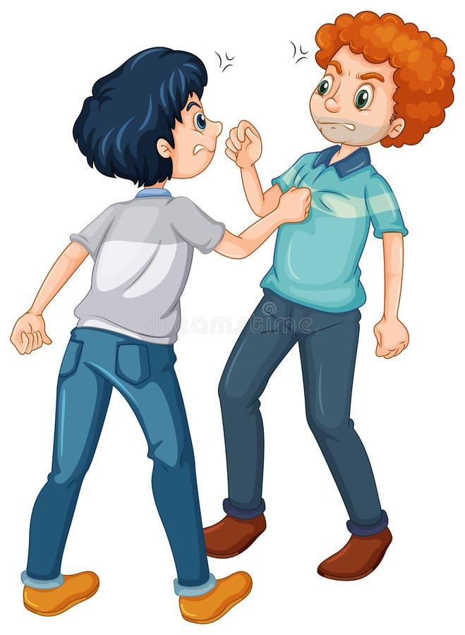 Luta irritada de dois homens ilustração do vetor