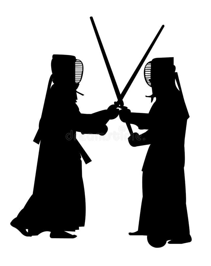Luta marcial dos artistas de Kendo ilustração royalty free