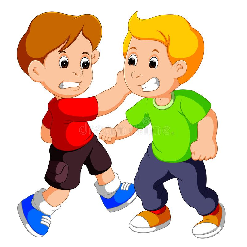 Luta nova de dois meninos ilustração royalty free