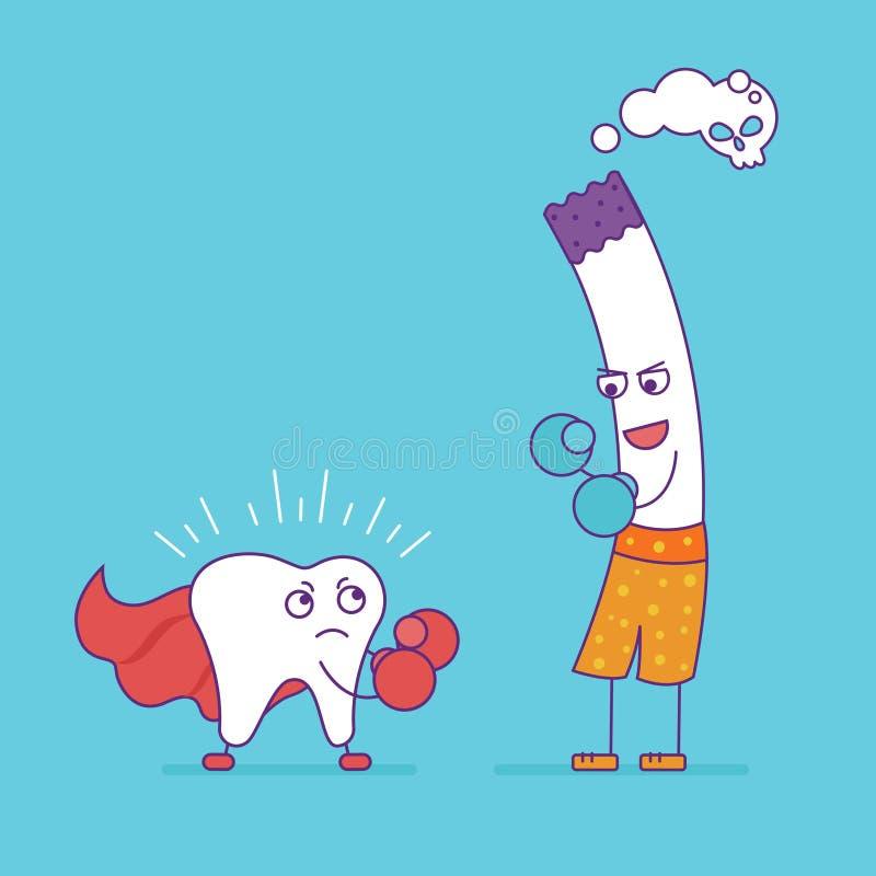 Luta ou encaixotamento branco do dente com cigarro Personagem de banda desenhada ilustração stock