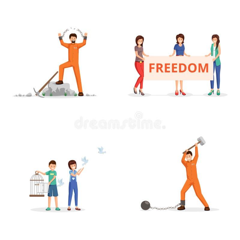 Luta pelo grupo das ilustrações do vetor da liberdade Ativistas fêmeas com cartaz na demonstração, crianças que ajustam pombos ilustração do vetor