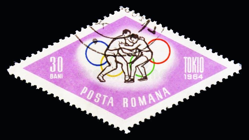 Luta romana de estilo livre, Olympics de verão 1964, serie do Tóquio, cerca de 19 imagem de stock