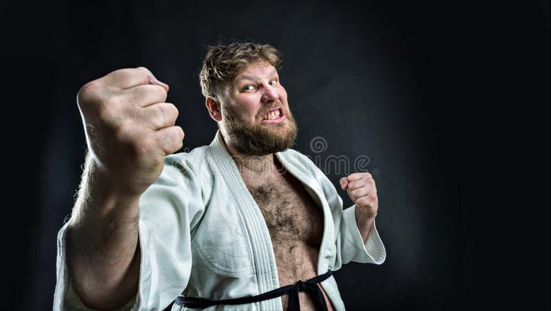 Lutador agressivo do karaté fotografia de stock