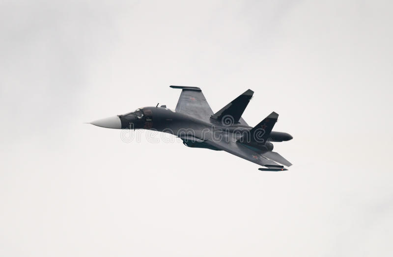 Lutador-bombardeiro Su-34 fotografia de stock royalty free