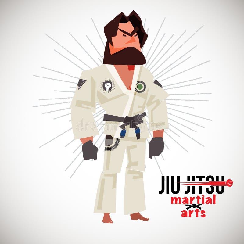 Lutador brasileiro do jiu-jitsu BJJ projeto de caráter com logotype - ilustração do vetor ilustração royalty free