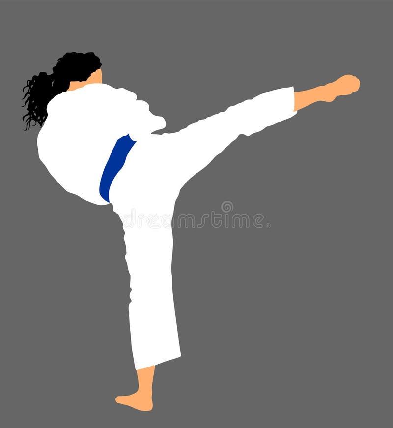 Lutador da mulher do karaté no quimono, Mamã do karaté ilustração royalty free