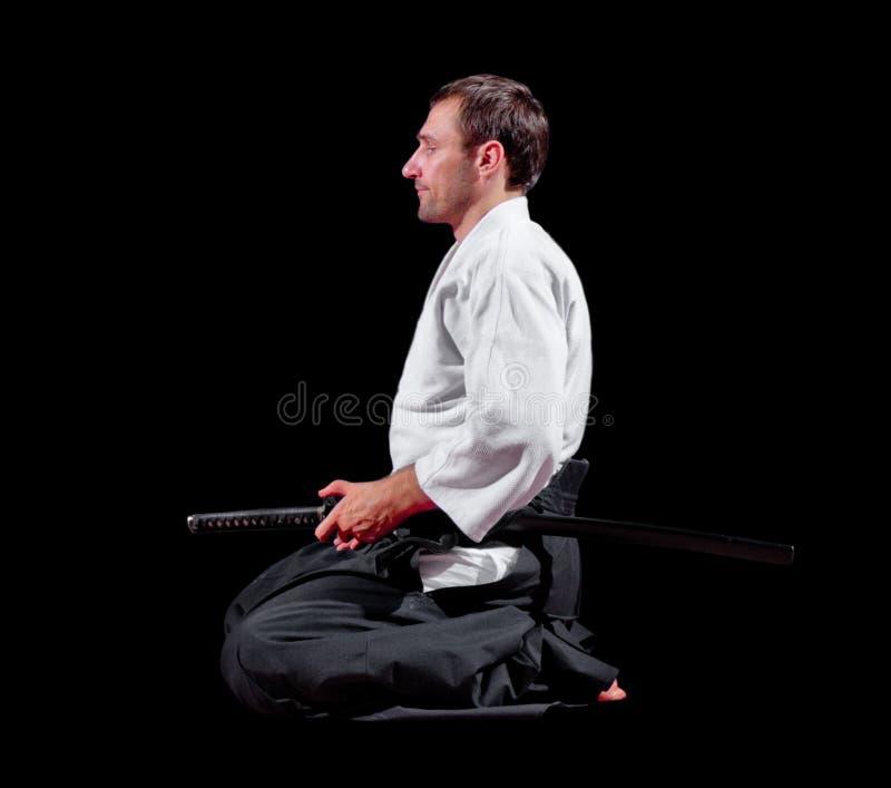 Lutador das artes marciais com espada fotografia de stock