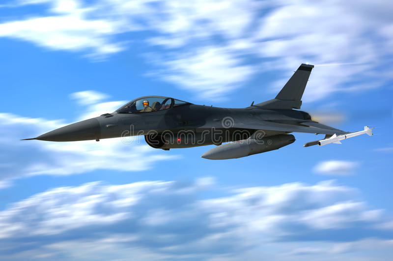 Lutador de combate Jet Plane Flying do falcão F-16 foto de stock royalty free