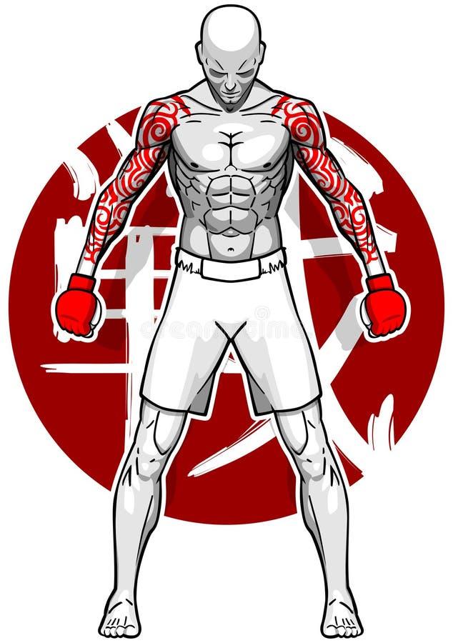 Lutador de MMA ilustração royalty free