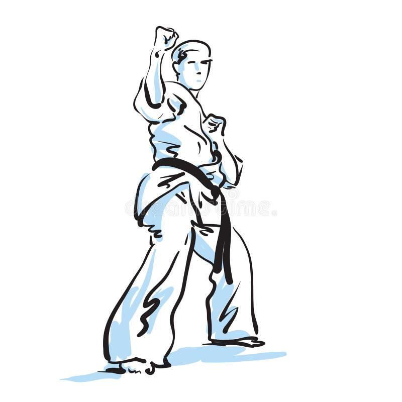 Lutador do karaté ilustração royalty free