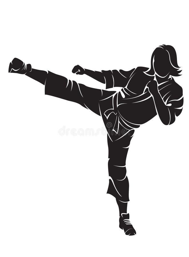 Lutador do karaté da mulher ilustração royalty free