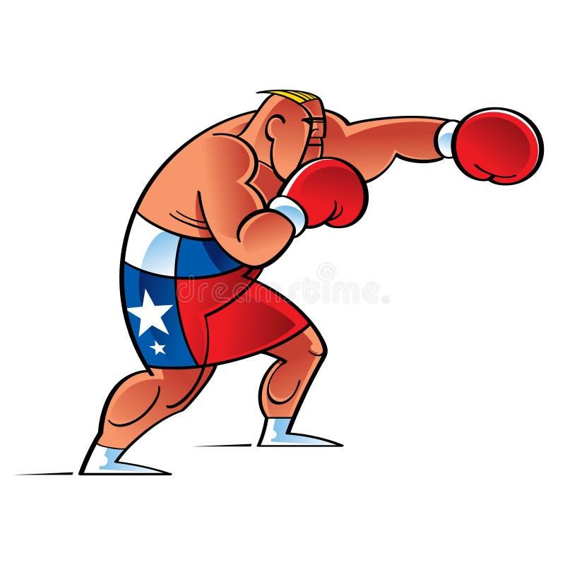 Lutador do pugilista no anel ilustração stock